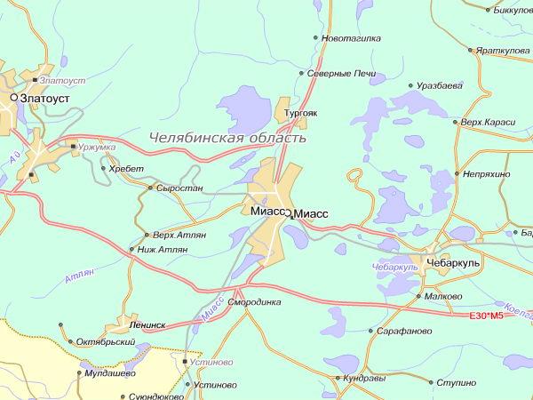 карта, проезд в г. Миасс